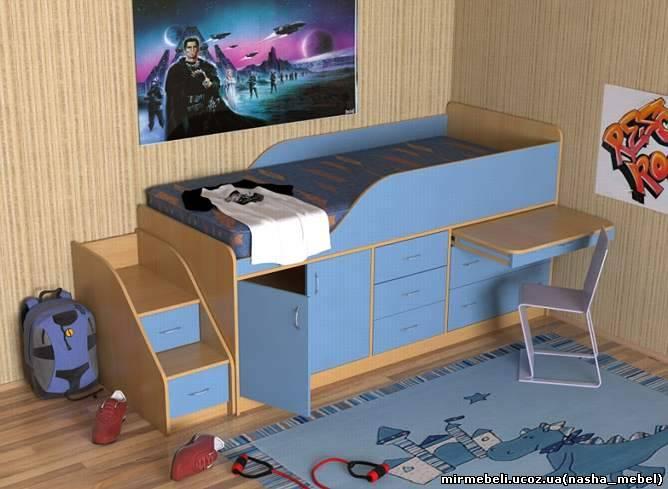 кровать для детской с рабочей зоной